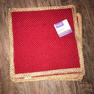 Red burlap placemats